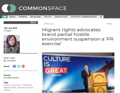 Migrant Voice - Comment on CommonSpace  on suspension of data sharing