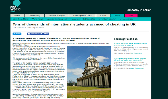 Migrant Voice - One World reports on MV international student campaign