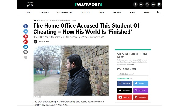 Migrant Voice - Huffington Post publishes in-depth story on wrongful Home Office allegations