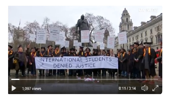 Migrant Voice - ITV London reports on international student demonstration