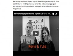 Migrant Voice - CommonSpace reports on MV's International Migrants Day campaign