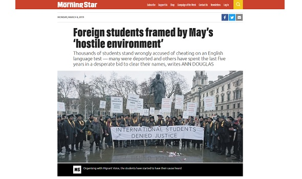 Migrant Voice - Morning Star reports on international students campaign