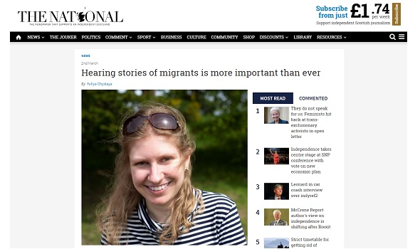 Migrant Voice - Scottish newspaper publishes blog by MV volunteer