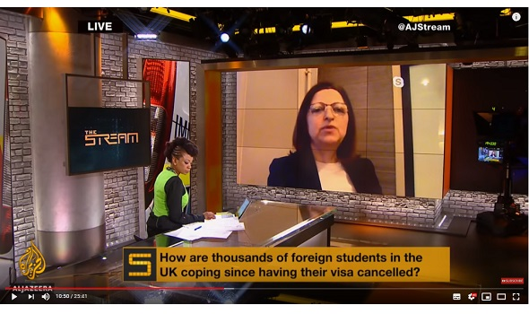 Migrant Voice - MV Director speaks live on Al Jazeera about students campaign