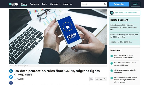 Migrant Voice - MV quoted in reports on GDPR complaint