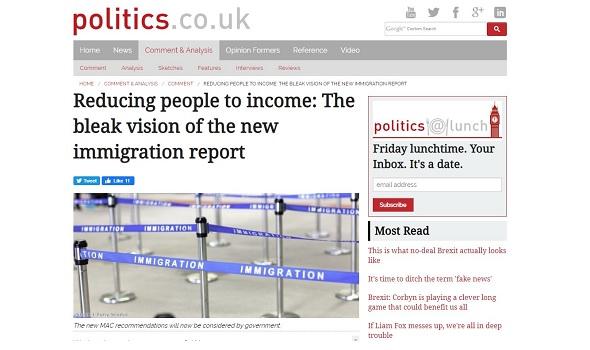 Migrant Voice - MV comment piece on Politics website
