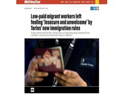 Migrant Voice - MV quoted in story on immigration proposals