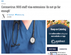 Migrant Voice - MV quoted in article about NHS visa extensions