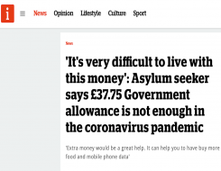 Migrant Voice - MV member speaks to i news about asylum support