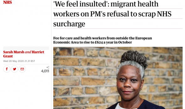 Migrant Voice - MV members speak to Guardian about NHS surcharge