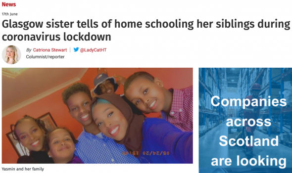 Migrant Voice - Member in Glasgow interviewed about home-schooling her siblings during Covid-19