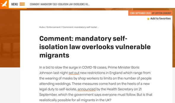 Migrant Voice - MV member writes for Free Movement about migrants and the new Covid-19 guidelines