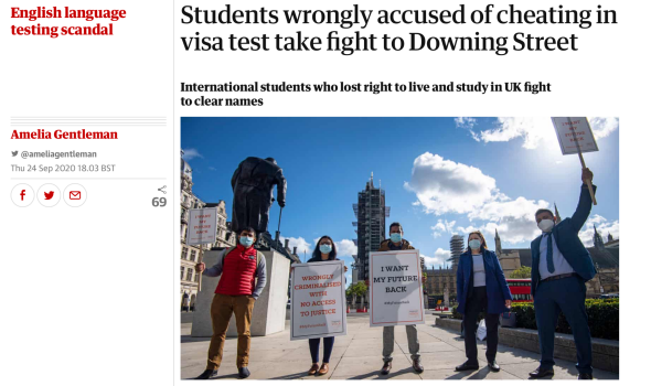 Migrant Voice - Coverage of students' open letter and Westminster demonstration in 100+ news outlets