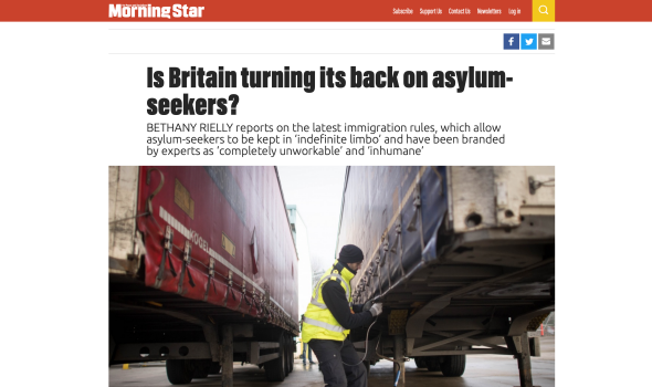 Migrant Voice - MV member & Director speak to Morning Star about 'absurd' new asylum rules