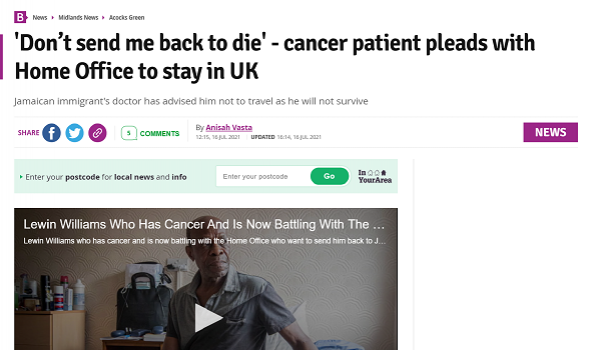Migrant Voice - MV member speaks to Birmingham Mail about his cancer battle and facing deportation