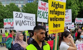 Migrant Voice - Demonstrators call on government to welcome Afghan refugees in Birmingham